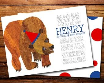Brown Bear Brown Bear Birthday Party Invitation, Brown Bear Birthday Party, Party Invitation Printable