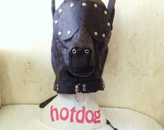 Top Quality Faux Leather Bondage Dog Gimp Mask Hood (UA615)