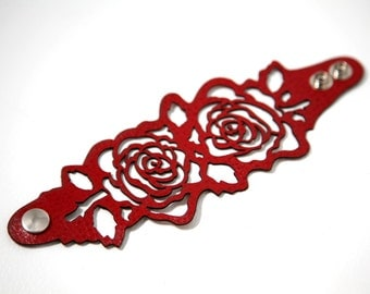 Laser cut leather bracelet cuff with roses design