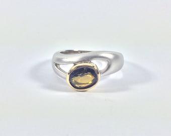 Smokey Quartz Silver Ring // 925 Sterling Silver // Rhodium/18k Gold Finish //