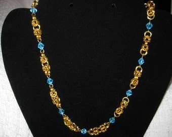 Gold and Teal Byzantine Necklace