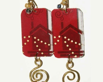 Red & Gold Dangle Earrings of an Upcycled Gift card showing Wire-work with Glass Bead Embellisments