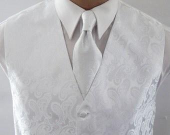 Mens Vest White Tone On Tone Satin Paisley Vest Tie And Pocket Square Set