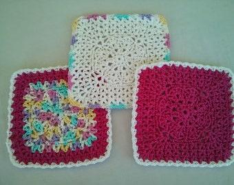 Crochet Wash Cloths, Handmade 100% Cotton, Set of 3, Cotton Candy