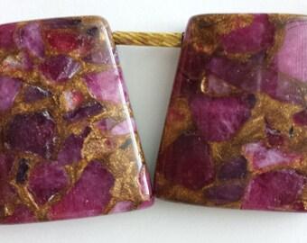 FULL Strand ruby agate beads, composite bead