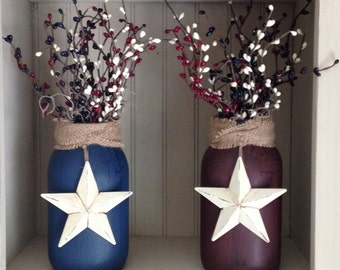Primitive Americana Jar with Berries and Star (your choice of color)