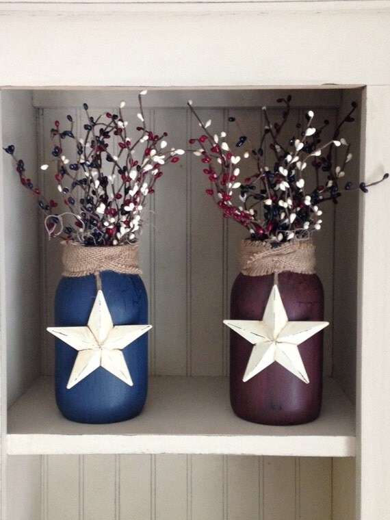 Primitive americana jar with berries and star your choice of for Star decorations for home