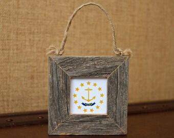 Barnwood Mini Framed Photo ~ Rhode Island State Flag, Framed, Anchor, Rhode Island, Ornaments, Teacher Gifts, 2x2 Photograph, Mini Frame
