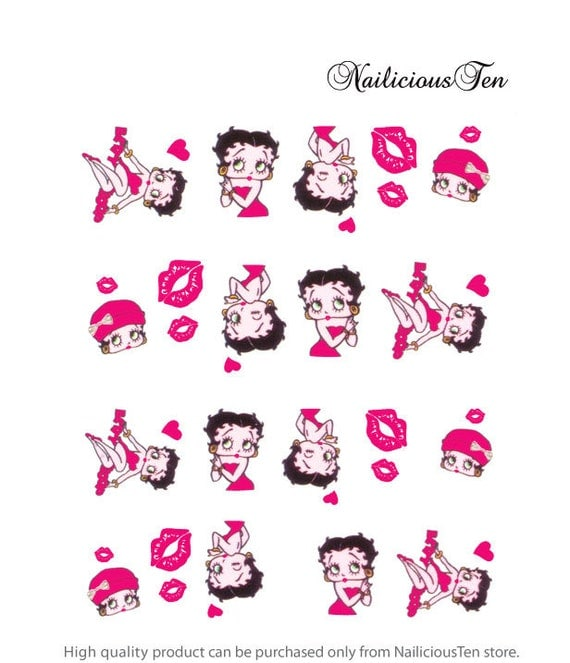 Betty Boop Nails: Betty Boop Nail Wraps Art Water Transfer Decal 20pcs So
