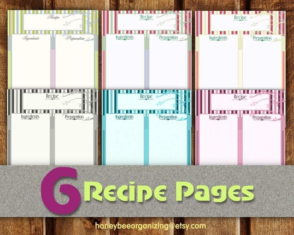 Recipe pages instant download blank cooking book for Full page recipe template for word