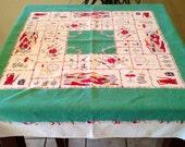 Americana Print Tablecloth, Patriotic Tablecloth, Vintage Tablecloth, Red Green Tablecloth, Square Tablecloth, July 4th Tablecloth