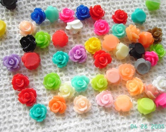50 Resin Rose Bud Cabochons 10mm mixed colours