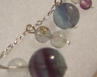 Sterling silver and fluorite gemstone charm bracelet. Beaded gemstone bracelet. Hypoallergenic bracelet. Blue Purple White bracelet