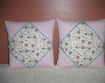 Pretty in Pink Owls Pillows 18 x 18