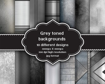 INSTANT DOWNLOAD - Collection of 14 digital grey toned design backgrounds