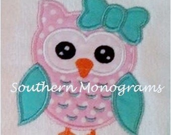 Girl Owl Applique Embroidery Design INSTANT DOWNLOAD