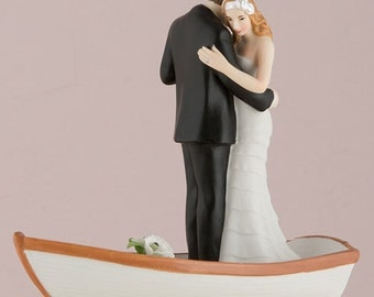 Hand Painted Porcelain Just Married Bride and Groom in a Rowboat Wedding Cake Topper