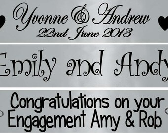 Luxury Personalised Silver Banner - Great for Weddings, Anniversary Engagement Party Decoration