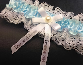 Personalised Wedding Garter Something Blue - Made to order with name and wedding date - Excellent Gift for the Bride - Belt Lingerie - PG102