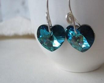 Austrian crystal heart earrings, original design handmade