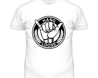 Hang Loose Shaka Sign Surf Dark Graphic T Shirt
