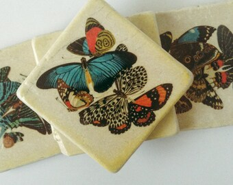 Vintage Butterflies Image Coasters - Colorful Butterflies - Natural Stone Tile - Home Decor - Great for Garden - Set of 4