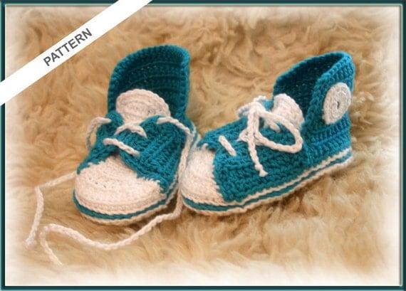 Thread Crochet Baby Converse Pattern Free : Converse Baby Shoes Crochet pattern Baby Slippers Baby