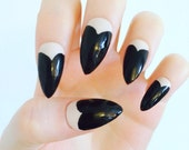 x Black heart x black tips red bottems nude and black claw nails