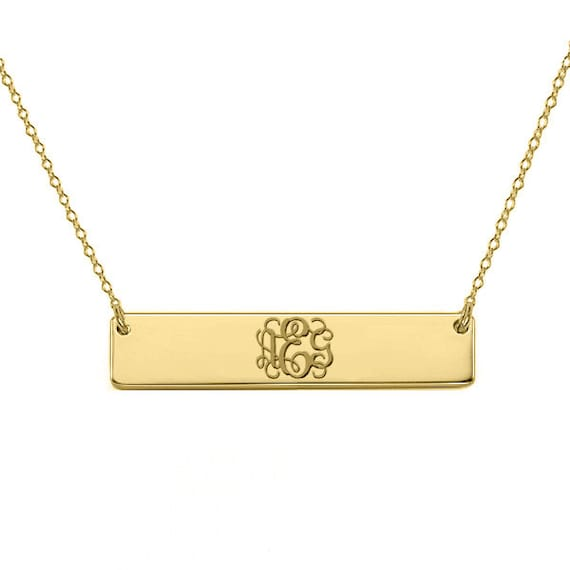 gold monogram bar necklace 18k gold plated pendant select any
