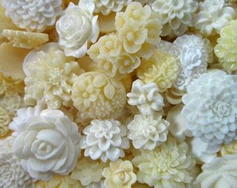 White, ivory and Cream Mix Flower Cabochons Grab Bag 25pc Roses Mums (DESTASH SALE)