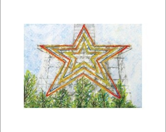 Mill Mountain Star - Roanoke, VA - watercolor & pastel print