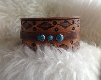 Aztec Leather Bracelet with Turquoise Spots