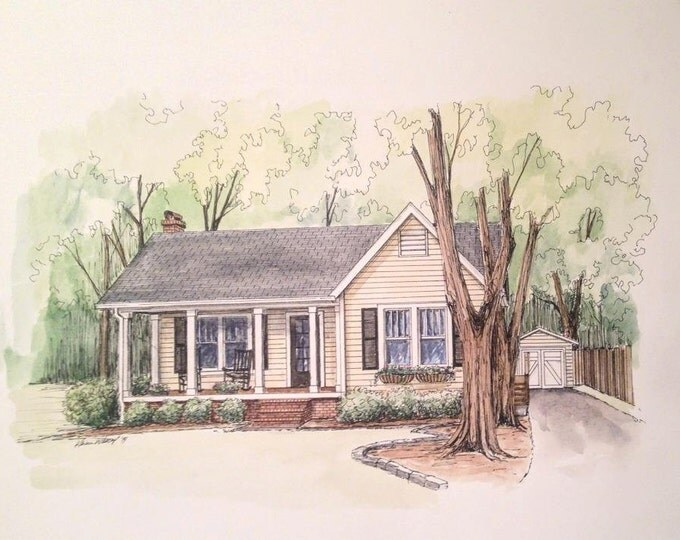 "5"" x 7"" Watercolor sketch House drawing from your photo!"