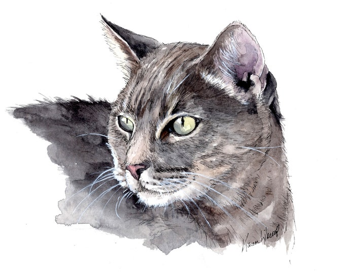custom watercolor pet portrait 5 x 7, custom portrait of cat