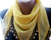yellow scarf , turkish scarves , infinity scarf , plaid scarf , lace scarf , Valentine's Day - mother day scarf , turban , knit scarf