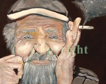 Old Man Smoking - Canvas Print