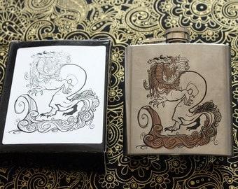 Metal-engraved Flask / Copper Dragon / 6oz.