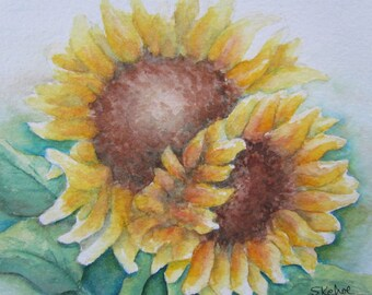 Original watercolor painting of Sunflowers, ready to hang.