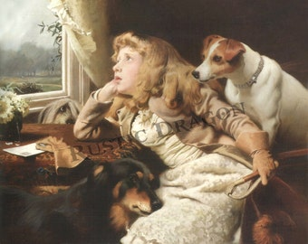 Charles Burton Barber Girl and dog looking out the window  Reproduction Digital Print  Dogs Girl