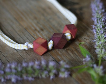 Blueberry + Pomegranate Geometric Wood Bead Necklace // Nursing Eco Friendly Organic