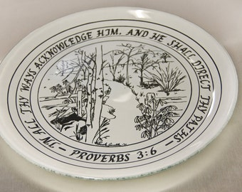"""13"""" round """"Path"""" plate, Proverbs 3:6 plate, Made in USA, Christian plate, Party tray, Cookie plate, Serving"""
