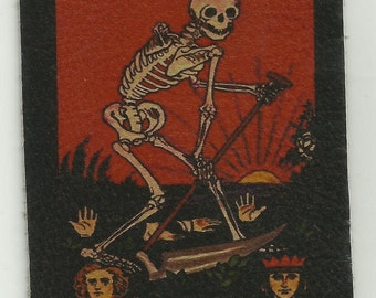 Leather DEATH TAROT CARD Skeleton Biker Patch