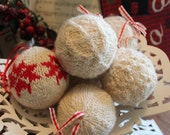 Baubles, Hand-spun, hand-knitted Christmas baubles, set of 6 assorted, red, cream, Scandinavian style,Blue-faced Leicester wool,  silk.