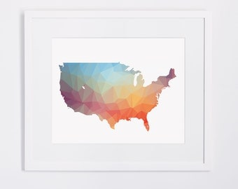 Colorful Usa Map Etsy - Us map poster printable