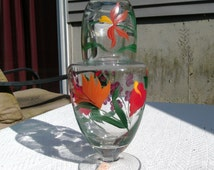 Vintage Hand Painted Bedside Pitcher and Drinking Glass