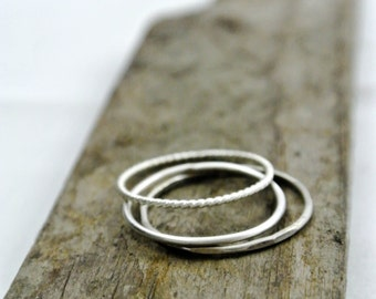 Silver Stacking Rings Skinny Sterling Silver Rings Set of 3 Twist Ring Hammered Ring Plain Ring Skinny Thin Stacking Rings Gift For Her 925