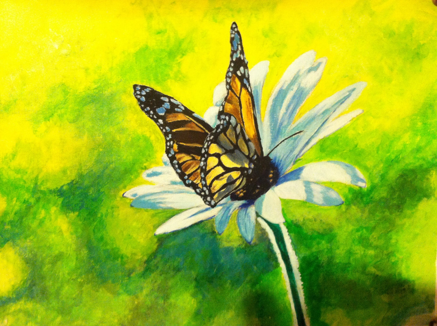 Acrylic Painting Butterfly Flower 12 x 9 Loose by ...