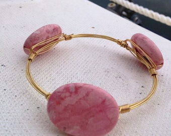 Pale Pink Wire Beaded Bangle