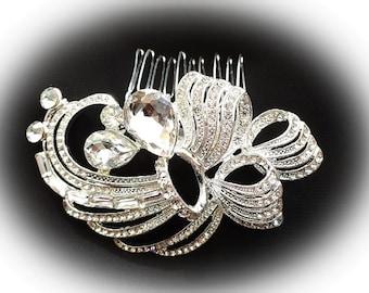 Art Deco vintage 1920's 30's inspired rhinestone bridal hair comb silver colour