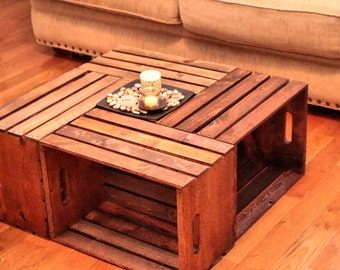 Popular items for crate tables on etsy - Table basse caisse pomme ...